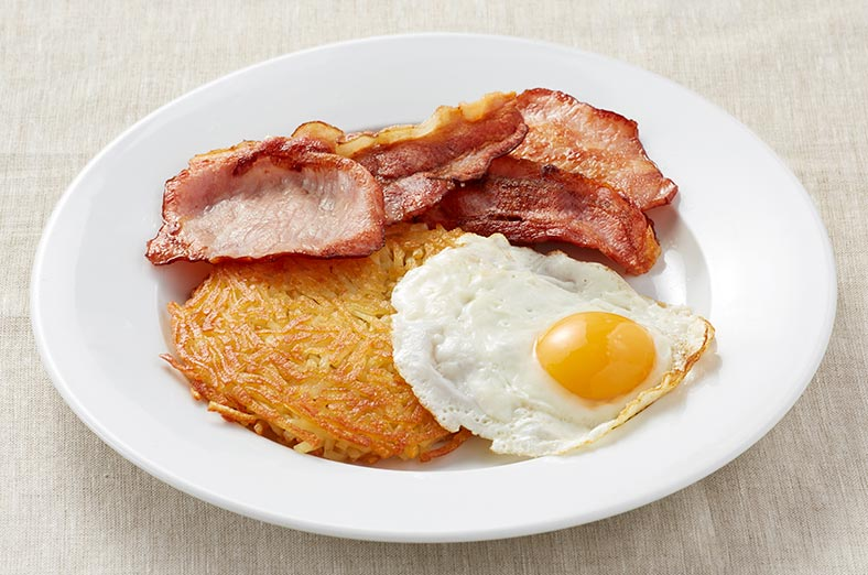 Bacon, hashbrown and egg