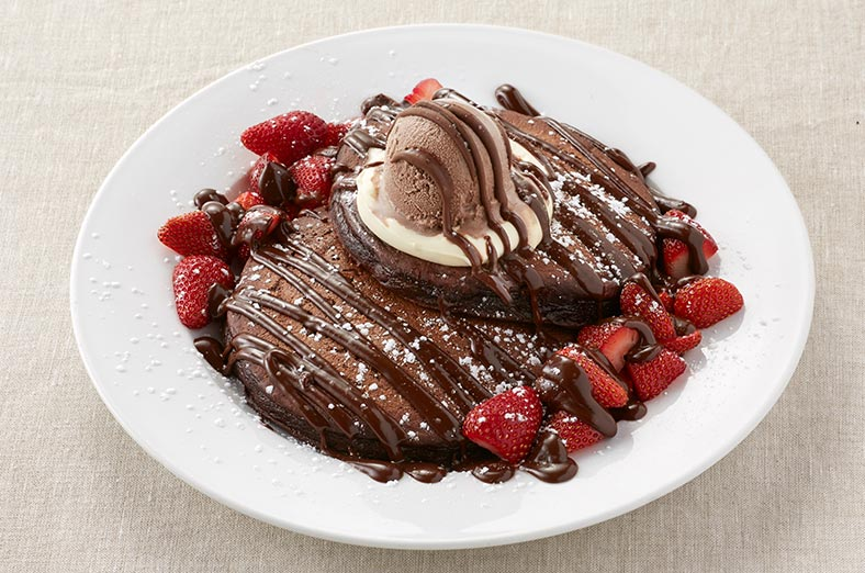 Chocolate pancake with strawberries