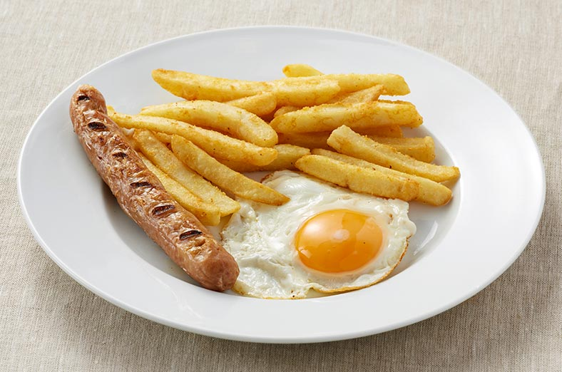 Sausage, fries, egg