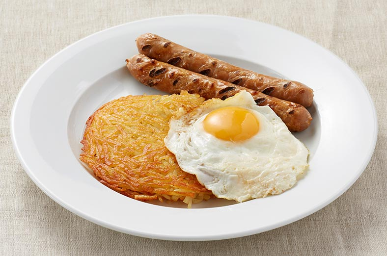 Hashbrown, egg, sausages