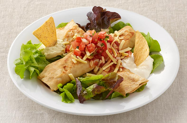 Mexican crepe, salad