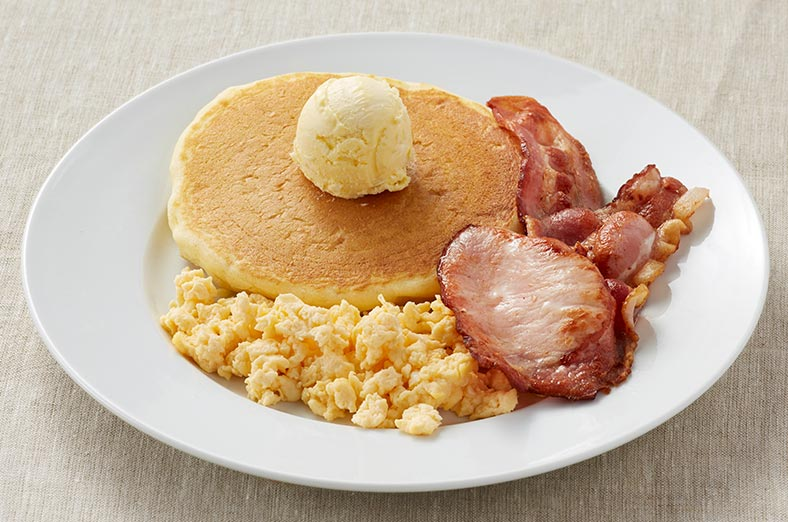 Pancake, bacon, scrambled egg