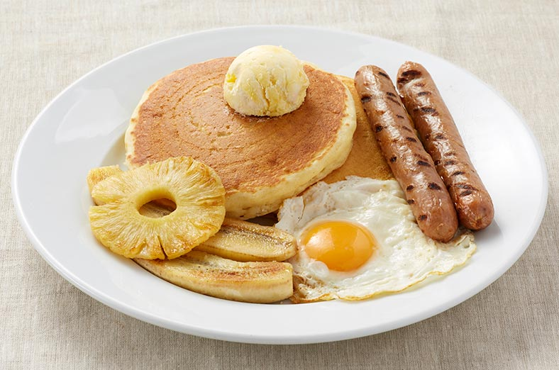 Pancakes, Sausages, egg, pineapple