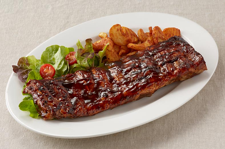 Pork ribs, chips