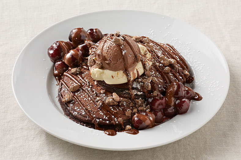 Chocolate pancakes and cherries