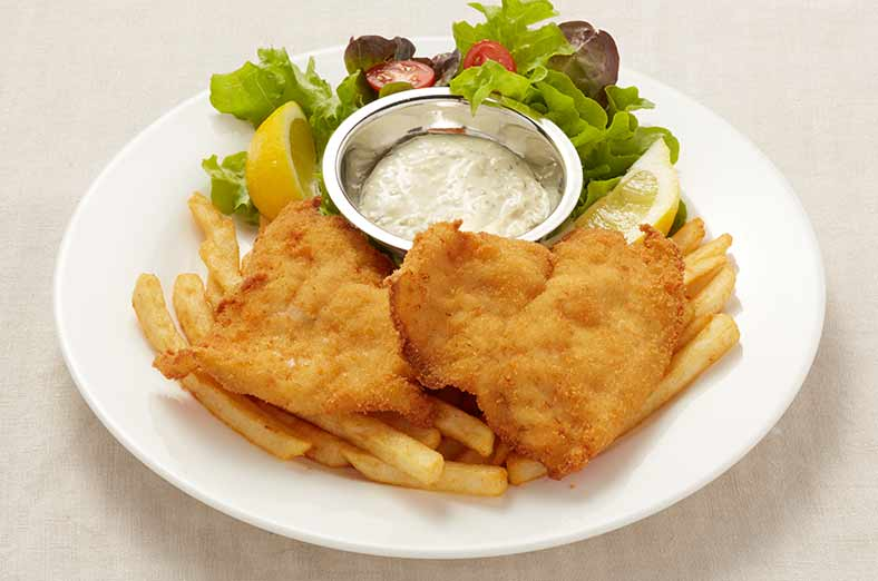 Fish, fries, salad